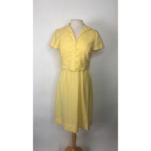 1960s Handmade Yellow Dress and Jacket Set